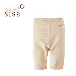 【SISSO有機棉】彩棉七分褲(咖條) 6M 12M