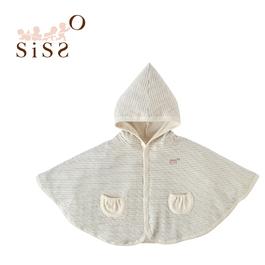 【SISSO有機棉】灰米條紋二重織小精靈披風 F