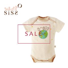 【SISSO有機棉】零碼商品5折 ↘有機棉愛地球短袖包屁衣 S M