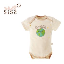 【SISSO有機棉】有機棉愛地球短袖包屁衣 S M