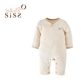 【SISSO有機棉】彩棉條紋長袖連身兔裝 3M 6M