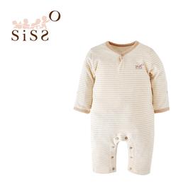 【SISSO有機棉】彩棉條紋長袖連身兔裝 12M
