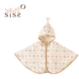 【SISSO有機棉】小雪花刷毛綿綿好溫暖披風(蜜桔雪花) F