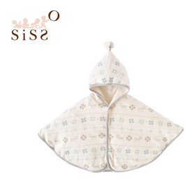 【SISSO有機棉】小雪花刷毛綿綿好溫暖披風(米藍雪花) F