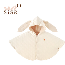 【SISSO有機棉】兔兔棉絨絨披風 F
