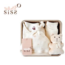 【SISSO有機棉】小葉子飄飄連腳兔裝禮盒(咖咖熊) 3M 6M