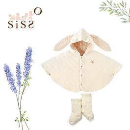 【SISSO有機棉】78折預購款↘兔兔棉絨絨披風襪襪禮盒 F