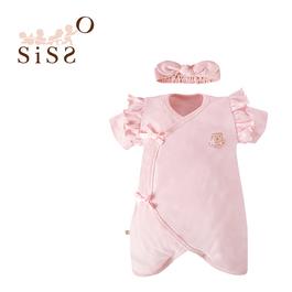 【SISSO有機棉】法式甜心蝴蝶裝+髮帶(植物染) 6M