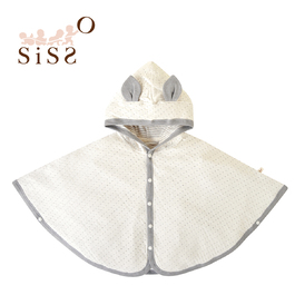 【SISSO有機棉】灰米點點二重織薄披風