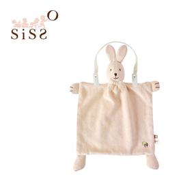 【SISSO有機棉】彩棉咖咖兔安撫手帕巾+多用途圍兜夾組