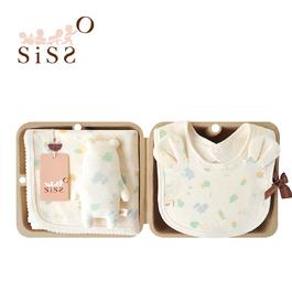 【SISSO有機棉】森林小灰熊萊賽爾棉萬用巾圍兜禮盒