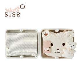 【SISSO有機棉】灰米條紋四季萬用毯時尚禮盒