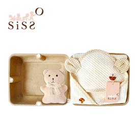 【SISSO有機棉】菇菇熊二重織空氣棉包巾禮盒