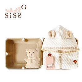 【SISSO有機棉】菇菇熊二重織空氣棉披風禮盒