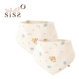 【SISSO有機棉】雲朵飛飛紗布三角巾(二入組) F