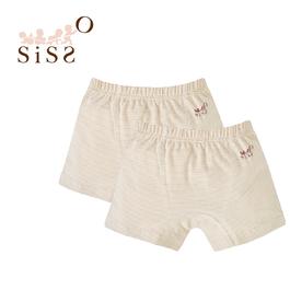 【SISSO有機棉】彩棉咖條四角男童內褲(二入) M L