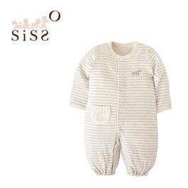 【SISSO有機棉】灰米大條紋二重織兩用式兔裝 3M 6M 12M