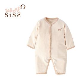 【SISSO有機棉】咖色彩棉條紋長袖兔裝 3M 6M 12M