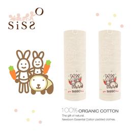 【SISSO有機棉】米小兔紗布緹花方巾(一組二入)